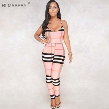 RLMABABY 6 Color Print Plaid Rompers Womens Jumpsuit Sexy V Neck Sleeveless Backless Spaghetti Strap Combinaison Femme Overalls