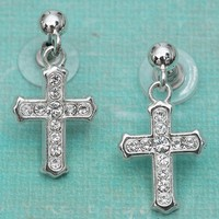 M&F Western Products® Silver Cross w/ Clear Stones Earrings 30174