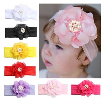 ON SALE 1PCS 2018 New Pearls Flower Headband Kids Girls Elastic Turban Hair Band Hair Accessories Head Wrap bandanas bebe