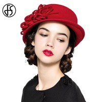 FS Red Hat Lady Winter Wide Brim Wool Fedora British Style Women Vintage Wedding Fascinators Black Blue Felt Bowler Hats