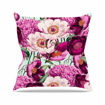 "83 Oranges ""Pink Velvet"" Pink Purple Nature Pattern Mixed Media Illustration Throw Pillow"
