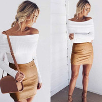 Fashion Women Off Shoulder Slim Knitted Sweaters +Free Christmas - Random Necklace