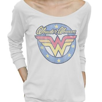 Wonder Woman Long Sleeve Off the Shoulder Tee - Women's Tops - All - Junk Food Clothing