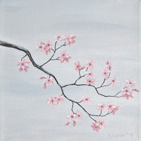 "Cherry Blossom Painting, Pink Cherry Blossoms, Original Fine Art, Nature Fine Art, Pink, Grey, Gray, Original Acrylic 10"" X 10"""