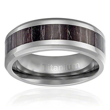 8MM Titanium Ring Wedding Band Brown with Black Stripes Wood Inlay Beveled Edges