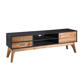 "Rustic Mid-Century Modern 3-Drawer Jackie 59.05"" TV Stand, Dark Grey"