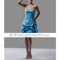 A-line Strapless Short Blue Satin ocktail Party/ Homecoming Dress(TCDXL003) [TCDXL003] - $84.69 : wedding fashion, wedding dress, bridal dresses, wedding shoes