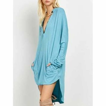 Plunge Long Sleeve High Low Casual Dress - Lake Blue L