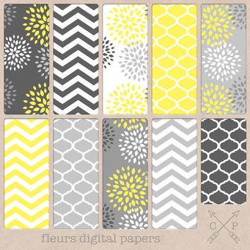 Grey and Bright Yellow Digital papers. Yellow Quatrefoil, Chevron and modern flowers for scrapbooking, graphic design, blog backgrounds etc
