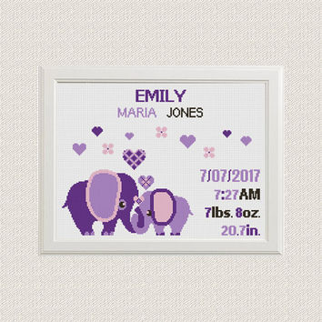 Cross stitch Birth announcement cross stitch pattern elephants with hearts baby sampler new baby girl birthday Jungle Nursery decor wall art