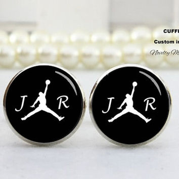 Basketball Jorde  Cufflinks , Customer diy letter , wedding cufflinks,Bride groom groomsmen gift ,Best Gifts For Father, with Free Gift Box,