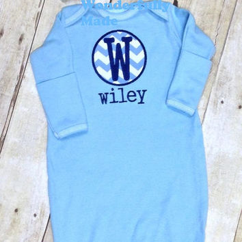 Personalized Newborn Layette with matching hat, Newborn Take Home Outfit, Newborn Gown, Monogrammed Layette, Monogrammed Newborn Gown