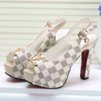 LV Louis Vuitton Fashion Ladies Princess High Heels High-Heeled Shoes Sandals