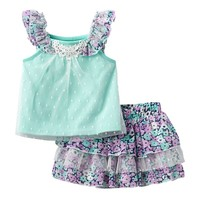 Little Lass Floral Tank Top & Scooter Set - Baby Girl, Size: