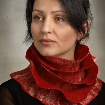 Handmade wool felted long scarf Red Rose Ruffle Style by ProninA
