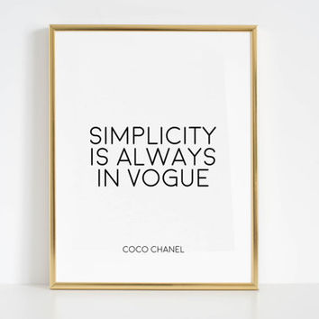 VOGUE POSTER Coco Chanel Quotes Vogue Print Vogue Wall Art Coco Chanel Wall Decal Coco Chanel Coco Chanel Decor Fashion Wall Art Fashion Art
