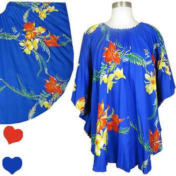 Vintage 80s Top // Blue Hawaiian Red Yellow Floral Lounge Caftan Top Shirt Tiki Luau Party Hawaii Pleated Coverup Tropical One Size OS OSFA