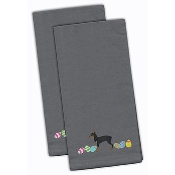 Toy Fox Terrier Easter Gray Embroidered Kitchen Towel Set of 2 CK1690GYTWE