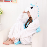 Cartoons Pink Unicorn Animal Couple Home Sleepwear Halloween Costume [9221222148]
