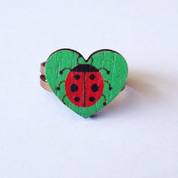 Wooden Ladybug Heart Ring - Country Mermaids