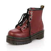 Quality PU Leather Platform Ankle Women Zip Flat Martin Boots Cow Muscle Sole Boots