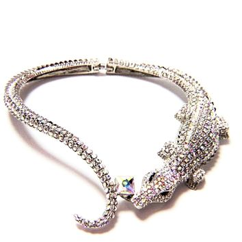 Alligator Crocodile Choker Crystal Necklace