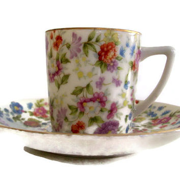 Vintage Occupied Japan Demitase Cup and Saucer Floral Pattern