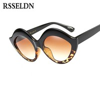 RSSELDN Vintage Women Fashion Sunglasses Brand Designer Oversize Ladies Cat Eye Sun Glasses For Women Men Party Sunglass uv400