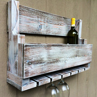 Wine Glass Rack with Bottle Storage - Pallet Art Style - Wall Mounted - Great Compact Size!