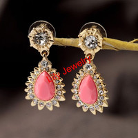 Beautiful Bridal Crystal Earrings Jewelry Pink Gemstone Earrings Stud Earrings Dangle Earrings Jewelry For Women