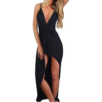 Asymmetric Knot Cami Dress In Black