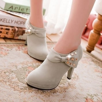 women high heels platform pumps bowknot ankle boots = 1945715908
