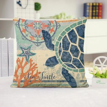 Turtle Cotton Linen Pillow Cover