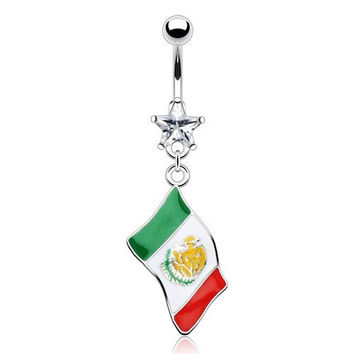Mexican-Mexico Flag 14g Epoxy Dangle with Star Gem Belly Navel Ring