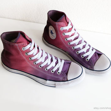 Violet to burgundy red ombre dip dye Converse, upcycled All Stars, transformed vintage Chucks, eu 41 (UK 7.5, us wo's 9.5, us mens 7.5)
