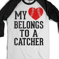 My Heart Belongs To A Catcher (Baseball Tee)-White/Black T-Shirt