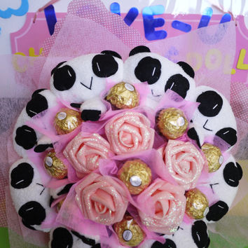 Panda Plush Flower Bouquet with Ferrero Rocher Chocolates. Perfect Birthday/Anniversary/Wedding gift