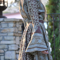GIVE THANKS CALYPSO Dress /// Bell Sleeve Flow Dress /// Vintage Saree Print  /// one of a kind /// Medium or Large
