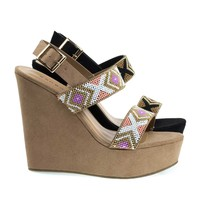 Charade65 Camel By Bamboo, Platform Wedge Sandal w Festive Tribal Beaded Strap w Faux Suede