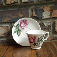 Vintage Colclough pink roses tea cup and saucer, regent shape, English tea set, wedding gift, floral china