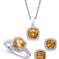 Sterling Silver Jewelry Set, Citrine (4-3/4 ct. t.w.) and Diamond Accent Necklace, Earrings and Ring Set