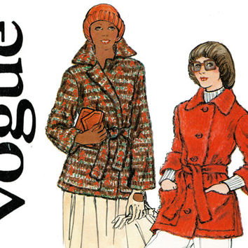 Womens Coat Pattern Uncut Bust 36 Vogue 8654 1970s Wrap Coat or Jacket Single Breasted Car Coat Clutch Coat Womens Vintage Sewing Patterns