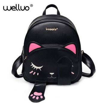 Cute Cat Backpack to Fit the Young Ladies Busy Schedules in Pu Leather