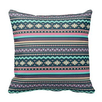 Colorful Abstract Aztec Tribal Pattern Pillow