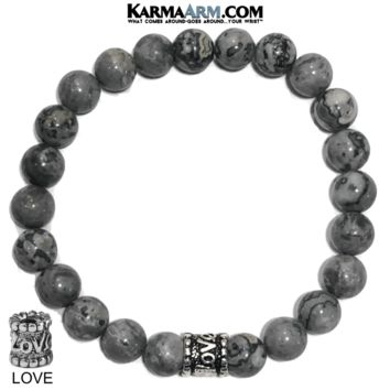GOING THE DISTANCE: Silver Crazy Lace Agate | LOVE Bead | Yoga Chakra Bracelet