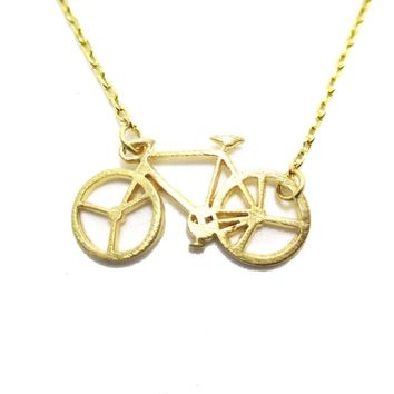 Bicycle Bike Silhouette Shaped Charm Necklace in Gold | DOTOLY