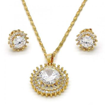 Gold Layered Necklace and Earring, with Cubic Zirconia, Gold Tone