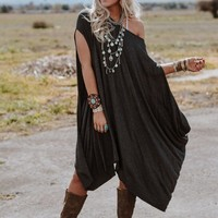 The Wren Oversized Tunic Top - Charcoal