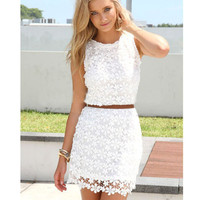 White Sleeveless Lace Cut-Out Mini Dress