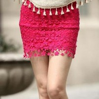 Red High Waisted Lace Mini Dress